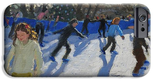 Little Girl iPhone Cases - Ice Skaters at Christmas Fayre in Hyde Park  London iPhone Case by Andrew Macara