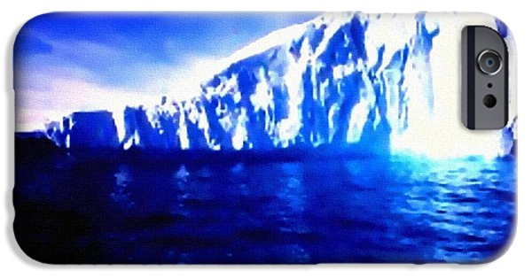 Abstract Digital Pastels iPhone Cases - Iceberg - Titanic Style H b iPhone Case by Gert J Rheeders