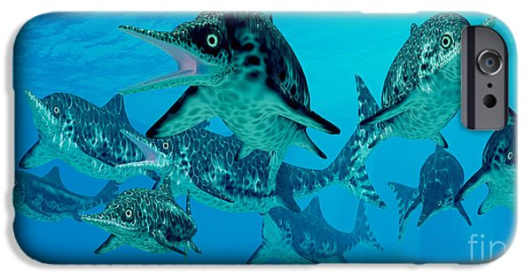Triassic iPhone Cases - Ichthyosaur Hunting Group iPhone Case by Corey Ford