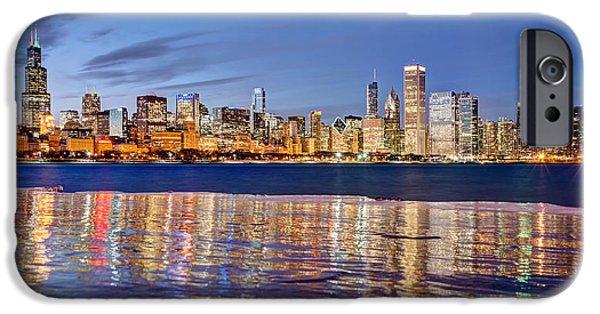 Willis Tower iPhone Cases - Icy Chicago Lakefront iPhone Case by Matt Hammerstein