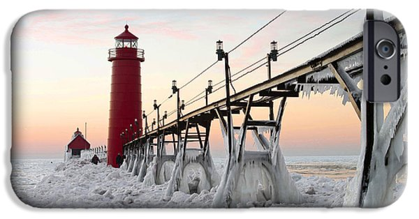Winter Storm iPhone Cases - Icy Grand Haven Pier iPhone Case by OiLin Jaeger