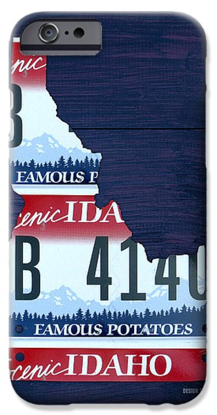 Idaho iPhone Cases - Idaho Famous Potatoes State License Plate Map iPhone Case by Design Turnpike