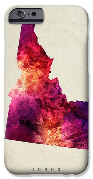 Montana State Map iPhone Cases - Idaho State Map 05 iPhone Case by Aged Pixel