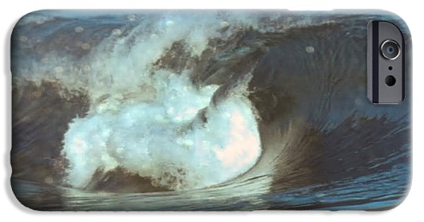 Abstract Digital Mixed Media iPhone Cases - Ideal Surf Waves photography and digital transformation iPhone Case by Navin Joshi