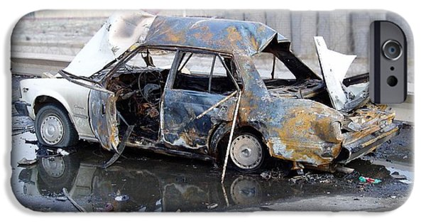 Baghdad iPhone Cases - IED Car iPhone Case by John Quigley