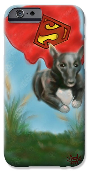 Puppy Digital iPhone Cases - If you ever need help just call my name iPhone Case by Siriporn Wachter