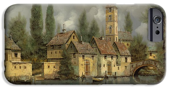 Roof iPhone Cases - Il Borgo Sul Fiume iPhone Case by Guido Borelli