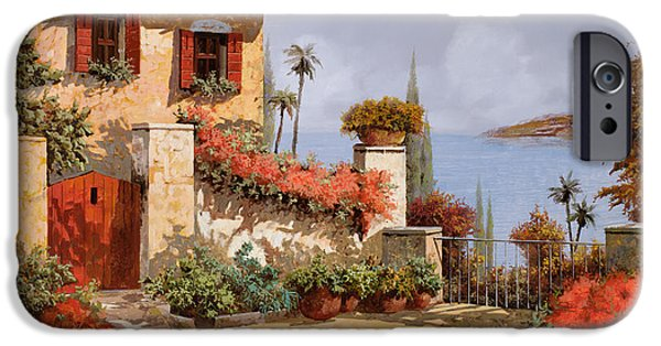 Door iPhone Cases - Il Giardino Rosso iPhone Case by Guido Borelli