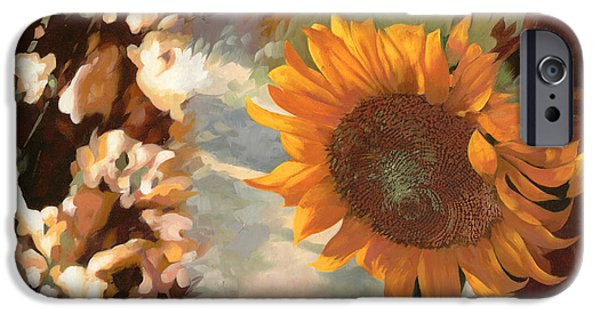 Vase iPhone Cases - Il Girasole iPhone Case by Guido Borelli