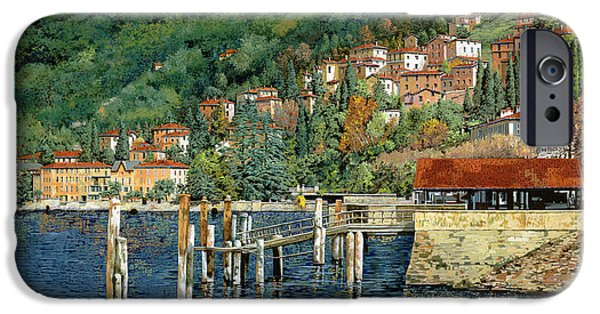 Lakescape iPhone Cases - il porto di Bellano iPhone Case by Guido Borelli
