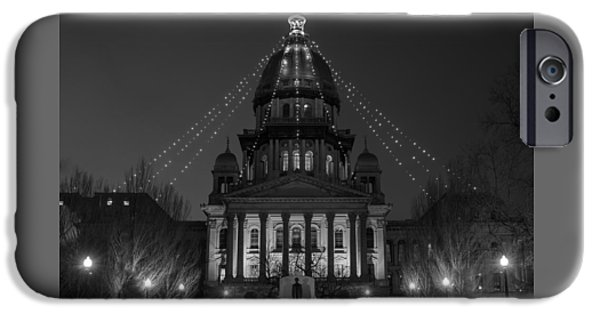 Buildings iPhone Cases - Illinois State Capitol B W iPhone Case by Steve Gadomski