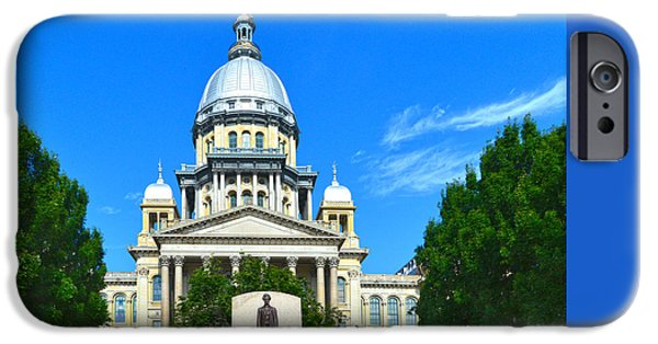 Lincoln iPhone Cases - Illinois State Capitol Building on Route 66 iPhone Case by Catherine Sherman