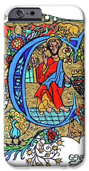 Religious iPhone Cases - Illuminated Letter C iPhone Case by Genevieve Esson
