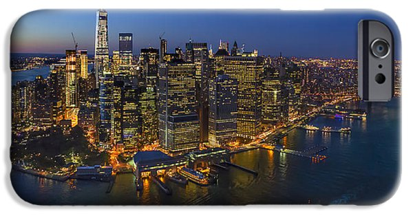 River View iPhone Cases - Illuminated Lower Manhattan NYC iPhone Case by Susan Candelario