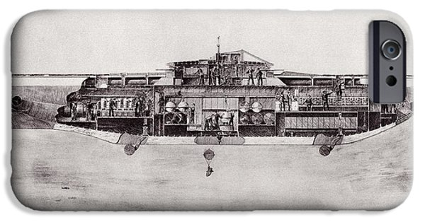 World War One iPhone Cases - Illustration Of A Lake Submarine, Used iPhone Case by Ken Welsh