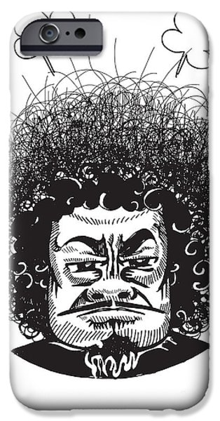 Business iPhone Cases - Illustration of a Man Fuming with Anger iPhone Case by Pakpong Pongatichat