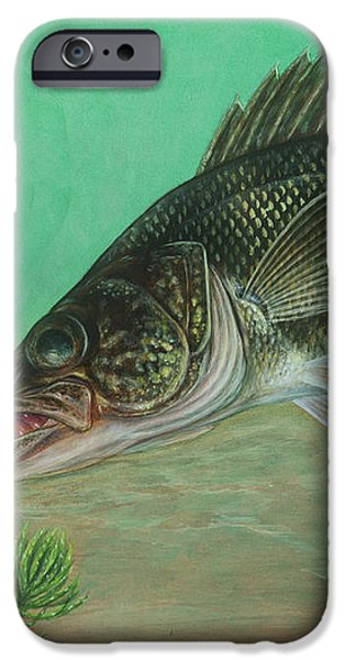 Illustration Of A Walleye Swimming iPhone Case by Carlyn Iverson