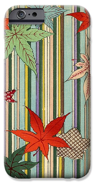 Stripe Drawings iPhone Cases - Illustration of Autumn Leaves on a Striped Background iPhone Case by Unknown