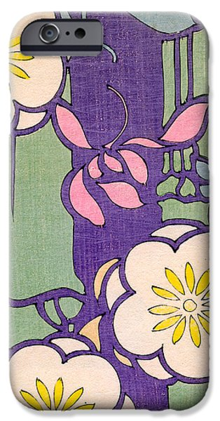 Pinks And Purple Petals Drawings iPhone Cases - Illustration of Flower Blossoms on a Lavender and Green Background iPhone Case by Unknown