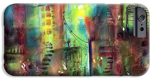 Buildings Mixed Media iPhone Cases - Imaginary City iPhone Case by Shirley Sykes Bracken