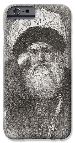 Religious Drawings iPhone Cases - Imam Shamil, Also Spelled Shamyl iPhone Case by Ken Welsh