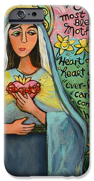 Mercy iPhone Cases - Immaculate Heart of Mary iPhone Case by Jen Norton