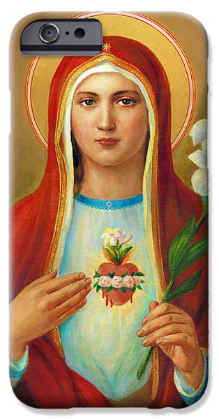 Mother Mary Digital Art iPhone Cases - Immaculate Heart of Mary iPhone Case by Svitozar Nenyuk