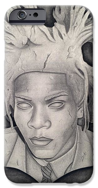Statue Portrait Drawings iPhone Cases - Immortalizing In Stone Jean Michel Basquiat Drawing iPhone Case by Angelee Borrero