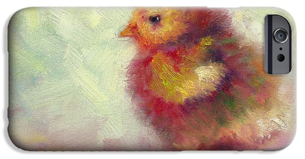 Young Paintings iPhone Cases - Impressionist Chick iPhone Case by Talya Johnson
