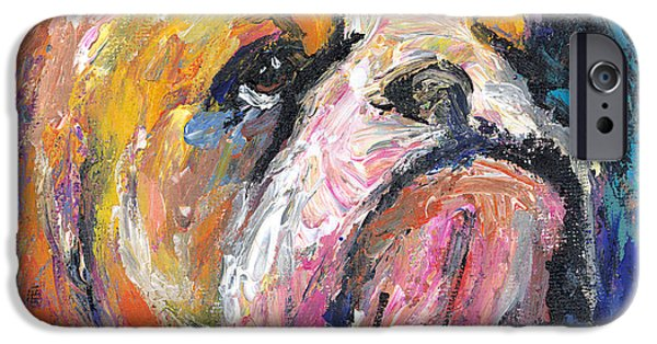 Pet Drawings iPhone Cases - Impressionistic Bulldog painting iPhone Case by Svetlana Novikova