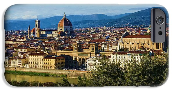 Historic Site iPhone Cases - Impressions Of Florence - a View From the Top iPhone Case by Georgia Mizuleva