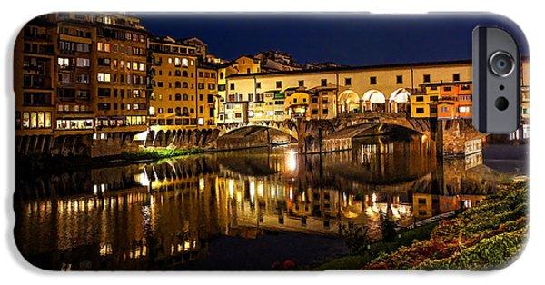River View iPhone Cases - Impressions Of Florence - Ponte Vecchio Evening iPhone Case by Georgia Mizuleva