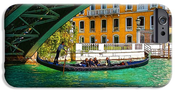 Facade iPhone Cases - Impressions of Venice - Ponte dell Accademia Turquoise  iPhone Case by Georgia Mizuleva