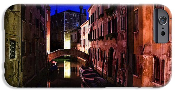 Facade iPhone Cases - Impressions of Venice - Wandering Around the Small Canals at Night iPhone Case by Georgia Mizuleva