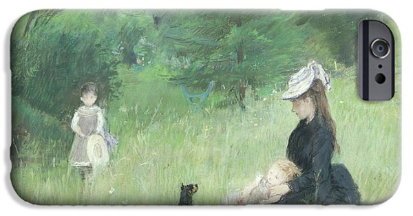 Black Dog iPhone Cases - In a Park iPhone Case by Berthe Morisot