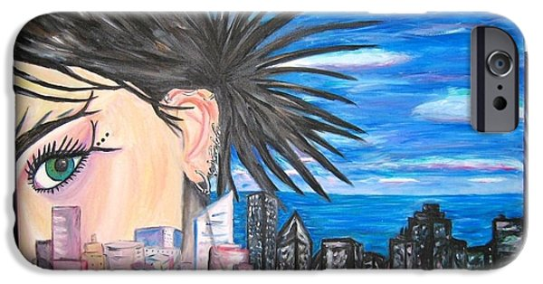 Chicago Paintings iPhone Cases - In between iPhone Case by Janel Coia