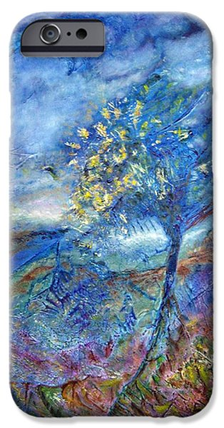 Meadow Tapestries - Textiles iPhone Cases - In Blue iPhone Case by Kathie Warren