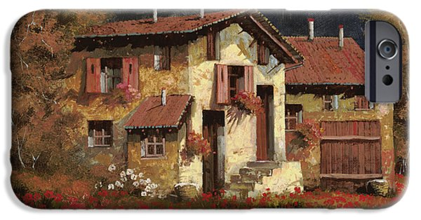 Farm iPhone Cases - In Campagna La Sera iPhone Case by Guido Borelli