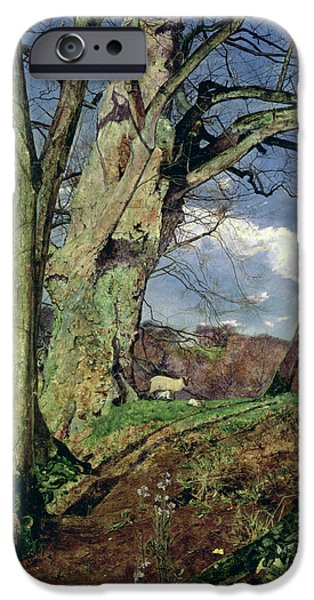 Pre-raphaelites iPhone Cases - In Early Spring iPhone Case by John William Inchbold