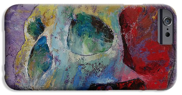 Drips Paintings iPhone Cases - Vintage Skull iPhone Case by Michael Creese