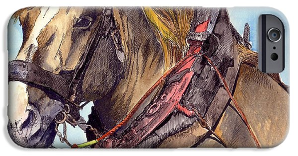 Horse And Cart Paintings iPhone Cases - In Harness iPhone Case by Kate Murray