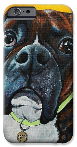 Boxer iPhone Cases - In Memory of Bodie The Boxer iPhone Case by Lauren Hammack