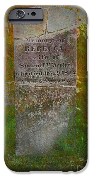 Headstones iPhone Cases - in memory of Rebecca... iPhone Case by Rene Crystal