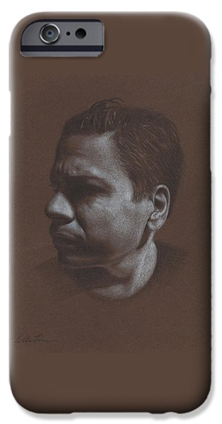 Graphite Drawing Pastels iPhone Cases - In Shadow/Felix iPhone Case by Eddie Torres