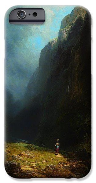 Basket iPhone Cases - In The Alpine High Valley iPhone Case by Carl Spitzweg