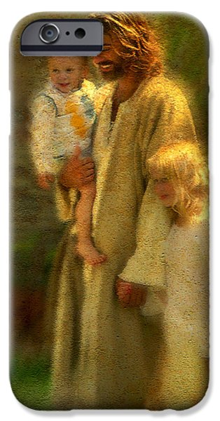 Child iPhone Cases - In the Arms of His Love iPhone Case by Greg Olsen