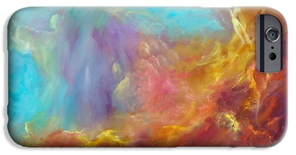 Constellation Paintings iPhone Cases - In the Beginning iPhone Case by Sally Seago