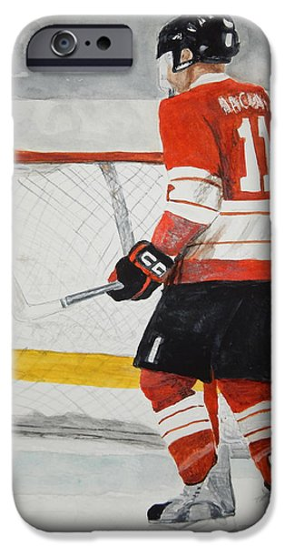 Hockey Paintings iPhone Cases - In The Blue Paint iPhone Case by Betty-Anne McDonald