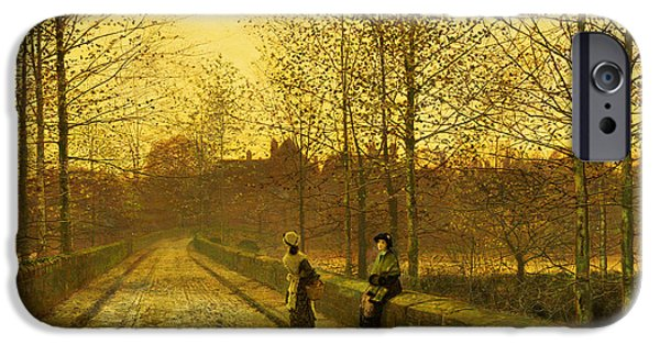 Autumn Road iPhone Cases - In the Golden Gloaming iPhone Case by John Atkinson Grimshaw