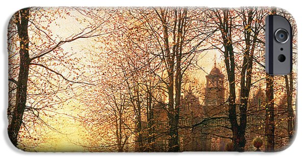 Fallen Leaves iPhone Cases - In the Golden Olden Time iPhone Case by John Atkinson Grimshaw